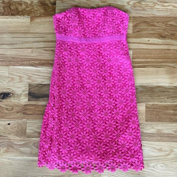 Lilly Pulitzer Pink Eyelet Strapless Dress
